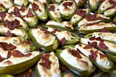 greek yogurt and reduced fat cream cheese fills these healthier stuffed jalapenos and they are topped with turkey bacon. Recipes Appetizers And Snacks, Spicy Recipes, Veggie Recipes, Great Recipes, Cooking Recipes, Favorite Recipes, Dinner Recipes, Desserts, Stuffed Jalepeno Peppers