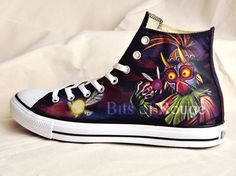 5d6f158e6 Custom Hand Painted Shoes Zelda Majora s Mask by BitsofRouge