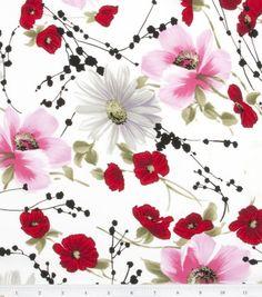 Jo-Ann Stores Simply Silky Prints Cosmos Poppy Spray Peachskin - long skirt