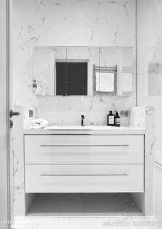 White marble bathroom in a small village near the Champs-Elysées . - White marble bathroom in a small village near the Champs-Elysées …, # Champselysees the - Condo Bathroom, Bathroom Vanity Units, Laundry In Bathroom, Master Bathroom, Carrara Marble Bathroom, Ceramic Tile Bathrooms, White Marble Bathrooms, Bathroom Design Small, Bathroom Interior Design