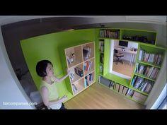 Fazer isso na minha casa!!! Switch flat Tokyo: mobile walls transform home into office - YouTube