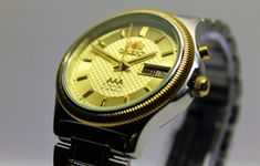 Automatic Watches ORIENT AAA Crystal Vintage Mechanical Men s Wrist Steel  Bracelet Gold tone Dial 21 Jewels Day   Date Japanese ORIGINAL 562cfc1b726