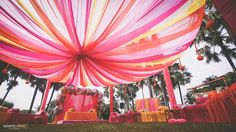 If you're getting married soon, here's a tip from us! Vibrant drapes like these look amazing in real and reel life! Wedding Film, Wedding Couples, Coffee Table Album, Professional Wedding Photography, Candid Photography, Couple Shoot, Getting Married, Vibrant, Fair Grounds