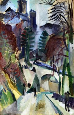 Painting by Robert Delaunay, 1912, Laon Landacape, oil on canvas, Private collection.