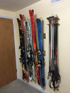 Ski Storage Rack:  A six positon Totti Button Ski Rack and a 5 position Totti Ski Pole Organizer.  See at www.buttonskirack.com