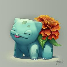 Bulbasaur with a flower on the back! It's such a cute little pokemon! Definitely the best starter 💁♀️ Informations About. Pokemon Fan Art, Cute Pokemon, Grass Type Pokemon, Pokemon Painting, Pokemon Bulbasaur, Cartoon Monsters, Pokemon Pictures, Fantastic Beasts, Cute Pictures
