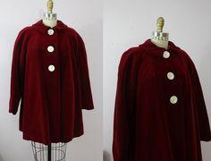 1940s Red Velvet Coat / 40s Swing Coat / by livinvintageshop
