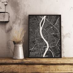 Premium Map Poster of Budapest Hungary - Subtle Contrast - Unframed - Budapest Map Art