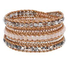 Peach Aventurine Mix Sectioned Wrap Bracelet on Bronze Leather - Chan Luu