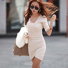 Women's Square Plus Size Lace Patchwork Slim Dress  – EUR € 16.24