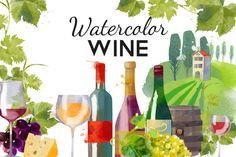 Watercolor wine by Tatiana_davidova on @creativemarket