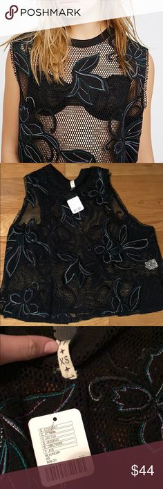 Free People Meshed Up Tee a little oversized, never worn Free People Tops Muscle Tees