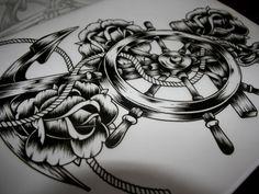 Ships wheel, anchor & roses tattoo design / illustration - John Hobbs
