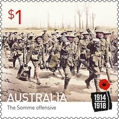 Марка: The Somme offensive SA (Австралия) (Centenary of World War I issue) Mi:AU 4566 Battle Of The Somme, All Themes, World War One, Stamp Collecting, Military History, Wwi, Postage Stamps, Photo Art, Aussies