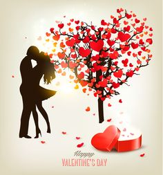 Valentine heart tree with gift box vector material 03