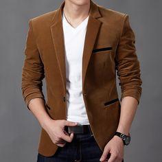 Mens blazers new arrivals 2016 high quality corduroy single button unique mens blazers long sleeve suit brand blazers for men