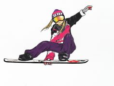 A drawing I made for a friend, with her clothes and her snowboard.