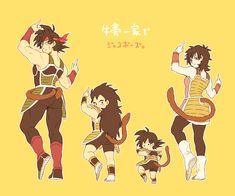 Bardock, Kid Raditz, Baby Goku, and Gine.