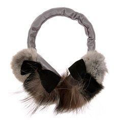 ZLYC Women Fashion Luxurious Rex Rabbit Fur Adjustable Earmuffs Bowknot Earwarmer, Gray -- Click image for more details.
