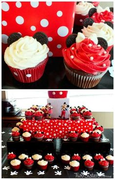 Ideas Cupcakes Anniversaire Mickey For 2019 Minnie Mouse Party, Mickey Mouse Cupcakes, Oreo Cupcakes, Birthday Cupcakes, Cupcake Cakes, Wedding Cupcakes, Cupcake Recipes For Kids, Cupcake Recipes From Scratch, Cupcakes Design