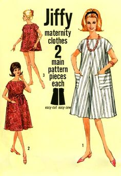 Maternity clothing, 1964 The clothing in this pattern published in 1964 emphasi. Maternity Wear, Maternity Fashion, Maternity Dresses, Maternity Clothing, Maternity Pictures, Clothing Patterns, Dress Patterns, Sewing Patterns, Vintage Outfits