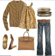 Camel sweater, tan tee, bronze jewelry, jeans, brown wedge heels, Coach purse