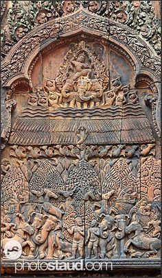 Elaborate relief carvings, Banteay Srei Temple