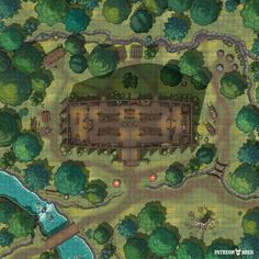 Fantasy Rpg Games, Fantasy Map, Fantasy World, Dungeon Tiles, Dungeon Maps, Mead Hall, Forest Map, Building Map, Grid