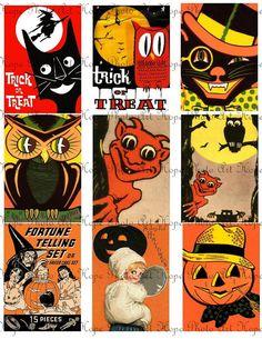 Retro Halloween Owls Pumpkins Black Cats