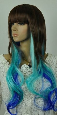 Bianca // Brown Teal Blue Ombre Synthetic Wig by ginabarto on Etsy, $59.00