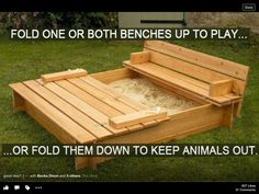 Smart Sandbox with sliding cover. No more kitty poop in our sandbox! sandbox Sandbox with built in benches mommy sandbox Outdoor Projects, Pallet Projects, Home Projects, Pallet Ideas, Diy Pallet, Pallet Storage, Pallet Crafts, Diy Crafts, Craft Projects
