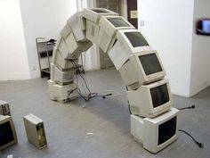 I want to build this but taller and skinnier and with tons more tech junk for the Tech Embassy @ Funk Parade.