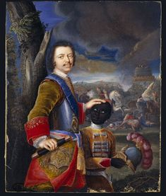 Portrait of Peter the Great, Tsar of Russia and his page by Gustav Mardefeld, ca. 1720. l Victoria and Albert Museum #Europe #Design