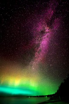 Photography Summer Landscape Night Galaxy Stars Northern Lights View Shore Milky Way Science Scenic Long Exposure Night Photography Michigan Aurora Borealis