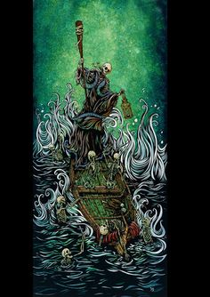 Day of the Dead Artist David Lozeau, The Boatman on the River Styx, David Lozeau Dia de los Muertos Art - 1