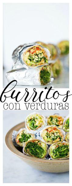 Receta de burritos con verduras, hojas verdes y tofu revuelto. Deliciosos, veganos y muy fáciles de hacer.