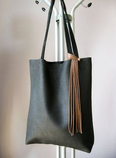 new concept 859a7 7c43b SALE NEW lower price, Tote bag, Black leather tote, Soft leather bag, Women  bag, handbag, Tote bag leather, Tote woman, Fringe
