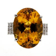 Vintage 1970 Bright Golden Yellow Beryl 18.00ct Ring LAB 14k White Gold