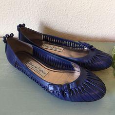 Pour La Victoire Blue Leather Woven Twist Flats