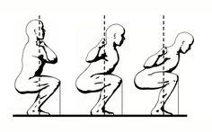 Ilustracion de Mark Rippetoe de la técnica del back squat.