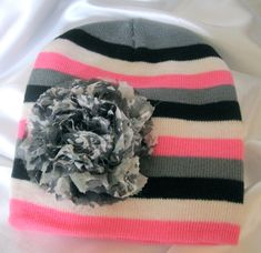 809def5fda9 SALE.....Toddler Girls Pink Black White and Grey Striped Beanie with a Grey  Variegated Chiffon Flower Fits Up to 6 months