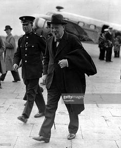 10th May 1937, Croydon, London, Winston Churchill arrives at Croydon Airport, from a visit to France