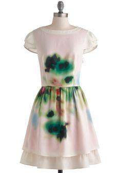 Blurred to the Wise Dress - Pink, Green, White, Buttons, A-line, Cap Sleeves, Boat, Wedding, Party, Vintage Inspired, Luxe, Fairytale