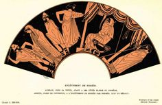 On this vase you can see two heralds leading Briseis away. Behind them angry Achilles sits alone in his tent. He is muffled in his cloak and holds his head in his hand. Achilles was determined to punish Menelaos and Agamemnon for his loss, so refused to fight for them any more. Above: Briseis led away from Achilles. Detail from Athenian red-figure clay vase, about 500-450 BC. London, British Museum E76. Photo. BM XXXVII B 56 © London, British Museum