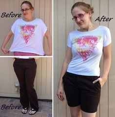 Bad to the Bone Tee & Trouser Shorts Refashions by CarissaKnits