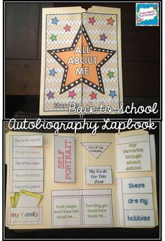 & About Me& Audiobiography Lapbook for Back to School! Fun projects for the kids, and they make a great BTS Bulletin Board display in the hallway or your classroom! Beginning Of The School Year, New School Year, First Day Of School, School Fun, First Day Activities, Back To School Activities, Classroom Activities, School Displays, Classroom Displays
