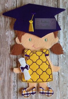 The Graduate:  Felt Doll Graduation Outfit by NettiesNeedlesToo