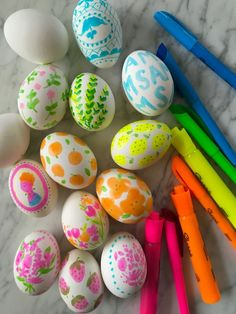 I've been so inspired lately by illustrator (and dear friend)Margaret   McCartney's new highlighter pen drawing series. I love her patterns and   funky neon recoloring of familiar objects. Seeing them made me want to play   with highlighters too! Margaret and I got together to decorate some Easter