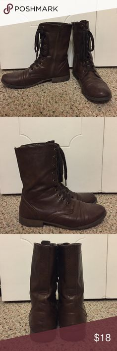 Brown boots Zippers on the inside ankle of the boot, they still have a lot of life. From target and they are not real leather Shoes Combat & Moto Boots