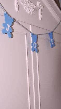 Custom Baby Blue Boys Nursery Teddy Bear Garland, Childrens Bedroom Rustic Name Wooden Wall Hanging, Personalized Baby Shower Gift Under 30 Wooden Reindeer, Garland Nursery, Childrens Bedroom Decor, Handmade Wooden, Girl Nursery, Baby Shower Gifts, Shabby Chic, Personalised Gifts, Personalized Baby